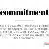 graphic showing written definition of the word commitment